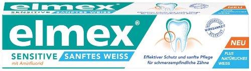 Elmex Sensitive Sanftes Weiß Zahnpasta 75 ml, 3er Pack (3 x 75 ml)