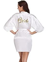 Vlazom Satin Bridal Bridesmaid Robes Bride Party Robes Dressing Gwons, Wedding Day Robes, Glitter Bridesmaid Kimono Bathrobe
