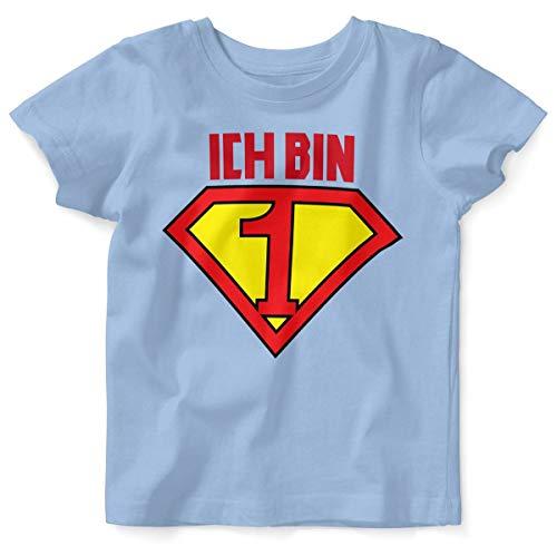 Mikalino Baby/Kinder T-Shirt mit Spruch für Jungen Mädchen Unisex Kurzarm Ich Bin 1 | handbedruckt in Deutschland | Handmade with Love, Farbe:Sky, Grösse:80/86
