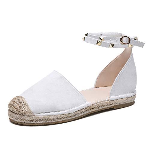Minetom Frauen Bandage Knöchel Wrap Espadrille Flachen Sandalen Flip Flop Sommer Lace up Platform Sandalen A Weiß EU 36 - Wrap Sandalen