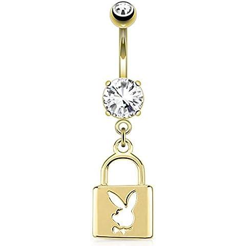 Paula & Fritz Lock cut-out Playboy Bunny colgante con circonita 14K chapado en oro 316L acero inoxidable Cristal Ombligo Vientre Botón pbnc008Cian)