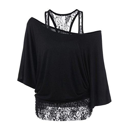 Btruely Damen Tops Frau T-Shirt Übergröße Langarm Bluse Spitze Hemd Retro O-Ausschnitt Oberteile (XXL, Schwarz) (Langarm-shirt Flag)