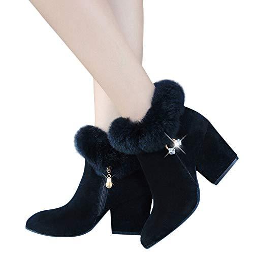 Tatis Shoes Einfarbig Wildleder Strass Anhänger Verziert Faux Plüsch Dicken Quadratischen Stiefeletten Mode Frauen Quaste Platz Hohe Schuhe Anti-Rutsch-Reißverschluss High Heel Ankle Boots
