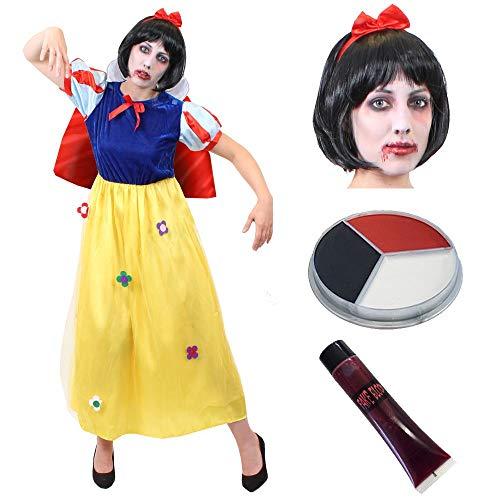 eewittchen Zomie Halloween Fasching Karneval MÄRCHEN KOSTÜM VERKLEIDUNG=Kleid+Make UP+Blut+PERÜCKE=Kleid-XLarge ()