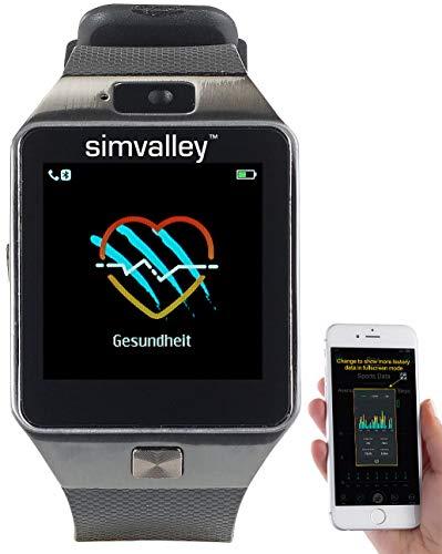 Simvalley Mobile Handyuhr: Handy-Uhr & Smartwatch mit Kamera, Bluetooth 4.0, für iOS & Android (Handy Uhr SIM) (Quadband Handy Uhr)