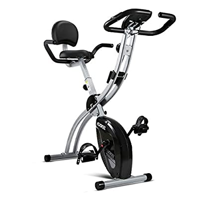 KUOKEL Indoor Exercise Bike, Fitness Bike Home Trainer with Digital Monitor (Folding Magnetic with Backrest, Track Exercise Time, Speed, Calories, Distance. Adjustance Seat and Resistance) (Silver) by KUOKEL