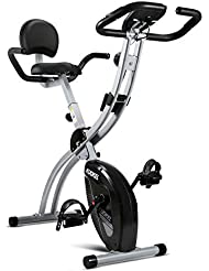 KUOKEL Indoor Exercise Bike, Fitness Bike Home Trainer with Digital Monitor (Folding Magnetic with Backrest, Track Exercise Time, Speed, Calories, Distance. Adjustance Seat and Resistance)