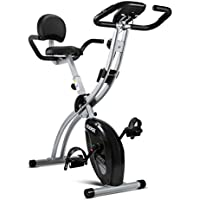 KUOKEL Indoor Exercise Bike, Fitness Bike Home Trainer with Digital Monitor (Folding Magnetic with Backrest, Track Exercise Time, Speed, Calories, Distance. Adjustance Seat and Resistance) (Silver)