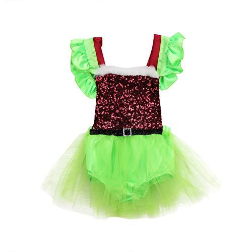 Neugeborenes Baby Mädchen Party Festzug Tutu Paillettenkleid Strampler Santa Claus Overall Weihnachten - Santa Claus Kostüm Baby Mädchen