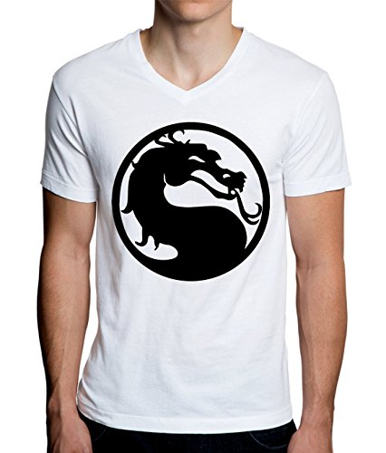 Mortal Kombat Classic Logo Design Men's V-Neck T-Shirt XX-Large -