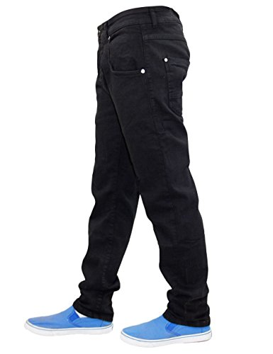 New Men's Firetrap Slim Fit Tapered Engineered Twisted Leg Stretch Cotton Denim Black