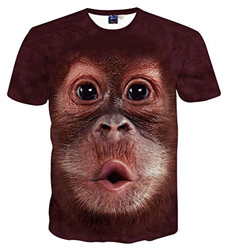 p Kurzarm 3D Druck T-Shirt AFFE braun AG003-26-L ()