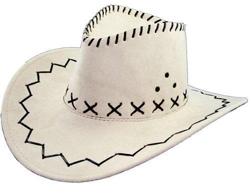 Cowboy Weiße Kostüm Hut - 1 x Cowboyhut Hut Westernhut Western Kostüm weiß 01