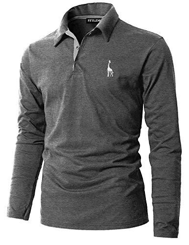STTLZMC Poloshirt Herren Langarm Basic T-Shirt Freizeit Giraffe Stickerei Polohemd,Grau,M