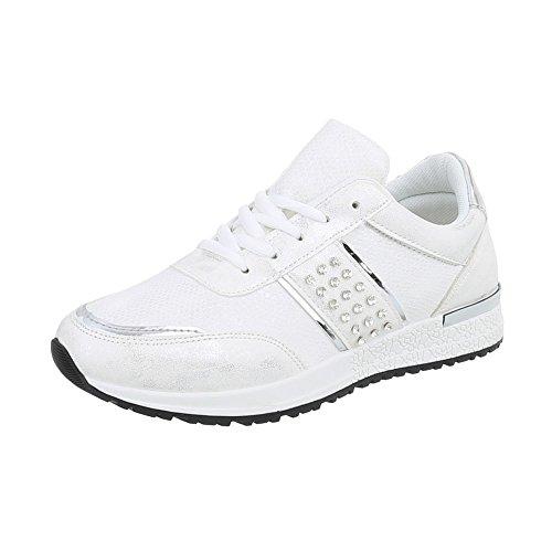 Ital-Design Sneakers Low Damen-Schuhe Sneakers Low Sneakers Schnürsenkel Freizeitschuhe Weiß Silber, Gr 38, P-18- (Sneaker Design)