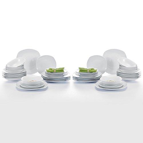 Malacasa, Serie Elisa, 48 teilig Porzellan Tafelservice Kombiservice Geschirr Set, 12 Dessertteller, 12 Suppenteller, 12 Flachteller und 12 Müslischale für 6 Personen