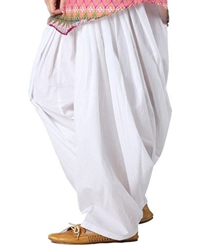 Luvcare Women's Cotton Patiala Salwar (PATIALA_WHTE_White_Free Size)