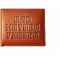 Bad Mother Fucker portafoglio in pelle marrone chiaro - Embossed Leather Wallet in tan brown