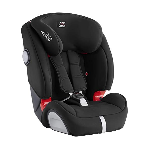 Britax Römer EVOLVA 1-2-3 SL SICT Group 1-2-3 (9-36kg) Car Seat - Cosmos Black  CLICK & SAFE audible harness system for that extra reassurance when securing your child in the seat The padded headrest and harness can easily be adjusted with one hand to suit your child's height performance chest pads - provide comfort and reduce your child's forward movement in a frontal collision 4