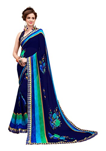 Oomph! Women's Georgette Printed Sarees Party Wear - Navy Blue