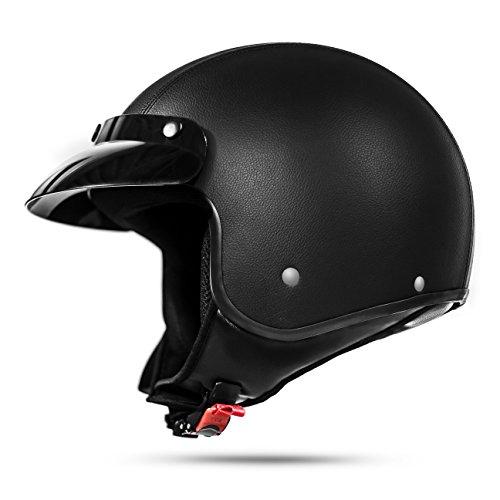 ATO-Moto Classic Leder Jethelm in Schwarz matt - extrem leicht - aktuelle Sicherheitsnorm ECE 2205 - Größe: M 57-58cm (Alten-leder 58)