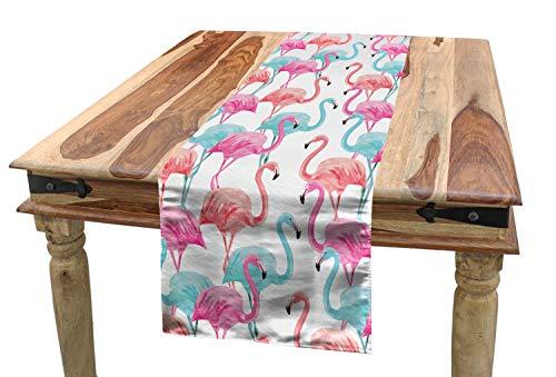 ABAKUHAUS Aquarell Tischläufer, Hawaii Flamingos, Esszimmer Küche Rechteckiger Dekorativer Tischläufer, 40 x 180 cm, Babyblau Lachs Rosa