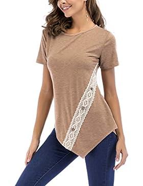 8Ssanlione Manga Corta Para Mujer Casual Cuello Redondo Delgado Túnica Tops Camiseta con Encaje y Botones