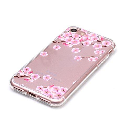 iPhone 7 Hülle,SainCat iPhone 7 Silikon Hülle Tasche Handyhülle Weiß Retro Muster [Elephant] Schutzhülle Transparent TPU Gel Case Bumper Weiche Crystal Kirstall Clear Silikonhülle Durchsichtig Handy G Plum Blume
