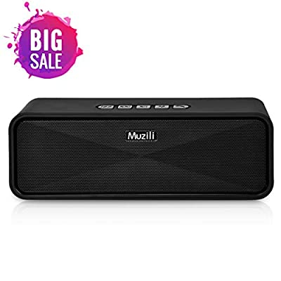 Bluetooth Speakers Portable Muzili Wireless Outdoor Stereo Speaker Mini Travel Soundbars HD Audio Enhanced Bass Dual-Driver 10 Hour Playtime with Micro SD&TF Slot Handfree Calling (Black) from Muzili
