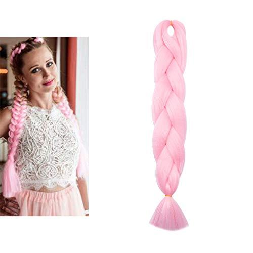Treccine extension treccia finta per capelli lunghi 60cm ombre braiding hair finti fibre kanekalon una ciocca 100g, rosa