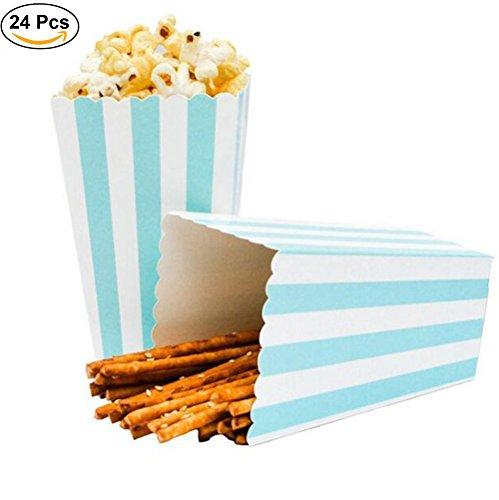 ZEEREE Popcorn Boxen Überraschung dekorative Streifenmuster für Party für Film Party Favors, 24pcs(blau)