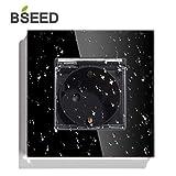 BSEED Wandsteckdose Aufputz für Feuchtraum1 Fach Kristall Glas Platte Einzel Steckdose 16Amp Steckdose 86mm Schwarz Verlängerungssteckdosen