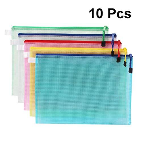 10 Stücke A4 Datei Taschen PVC Reißverschluss Datei Taschen Dokumente Organizers Stationery Organizer Dateiordner (33,5x24,5 cm) (Akkordeon Ordner, Brief)