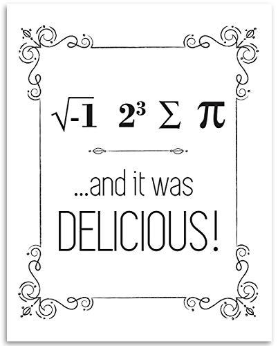 Lone Star Art Pi Sign and It was Delicious - 11 x 14 ungerahmter Typographie-Kunstdruck, toller lustiger/Geeky Küche, Esszimmer oder Klassenzimmer Dekor -