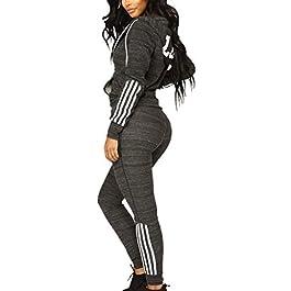 Pantaloni Lunghi Set hibote Completo Tuta Sportiva da Donna 2 Pezzi Pullover Pantaloni Sportivi a Vita Alta Inverno Donna Casual Manica Lunga Sport Top