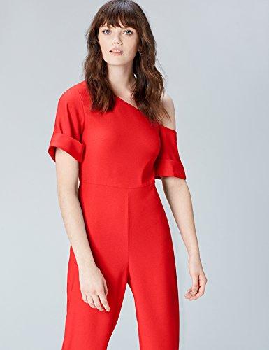 FIND Damen Off Shoulder-Jumpsuit Rot (Red Tomato Red)