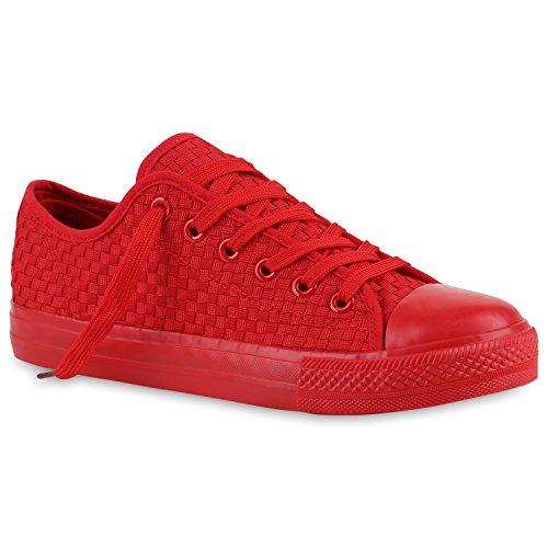 Herren Sneakers | Freizeitschuhe Sportschuhe | Schnürer Stoffschuhe |Fitness Streetstyle | viele Farben Rot Rouge