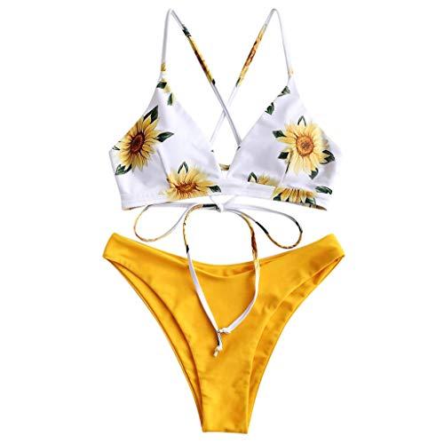 QingJiu Frauen Sonnenblumen Bedruckter Bikini Push Up Geteilter Bademode Beachwear