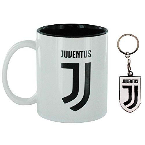 Offizieller FC Juventus 313ml Keramik Tasse & Schlüsselanhänger Geschenk Set