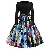 IZHH Damenmode Kleider Frauen Sommerkleider Vintage Italienische Mode Print Langarm Oansatz LäSsige SchöNe Kleider Prom Faltenrock Bikini Abendkleider Swing Kleider(U-Blau2,Large)