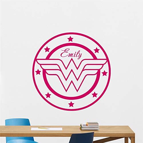 zhuziji Personalisierte Wonder Woman Wall Decal benutzerdefinierte Mädchen Vinyl Aufkleber Poster Kinderzimmer Kinderzimmer Wand Stick 70x70cm (Wonder Woman Kosten)