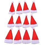Newin Star 12pcs / Set Schöne Weihnachten Deko Besteckbeutel Bestecktasche für Gabel und Messer Bestekchalter Weihnachten Tisch Decoration, Weihnachtshut