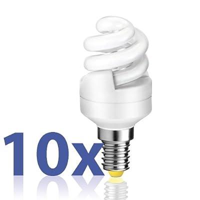 10er Set E14 Energiesparlampe in kompakter Spiralform von parlat (warm-weiß, 230 Volt AC, super mini, Ersatz für 30 Watt Glühbirne, Leuchtmittel, ESL, Kompaktleuchtstofflampe, Haushaltspack, 230V)
