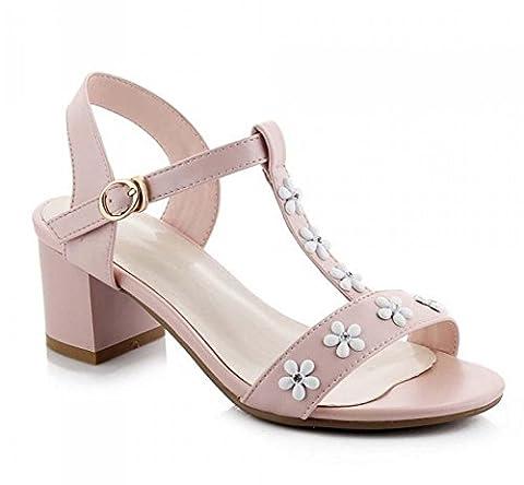 FARALY Femmes Sandales Fleurs Hebdomadaire à talon moyen Chaussures T-Strap d'été , pink , 35