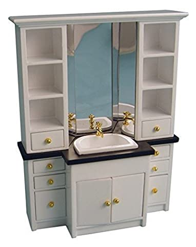 1/12th Scale Deluxe White Sink Dolls House Furniture Unit Streets