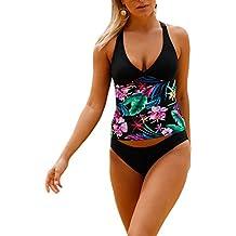 Bikini Tankini de mujer traje de baño bañador de dos piezas flores de flores de deslizamiento superior