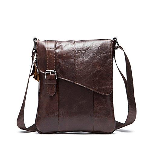 Primo Strato Di Borsa Di Pelle Casuale Uomo Messenger Bag Uomini Sezione Verticale Borsa A Tracolla Di Pelle Per Black