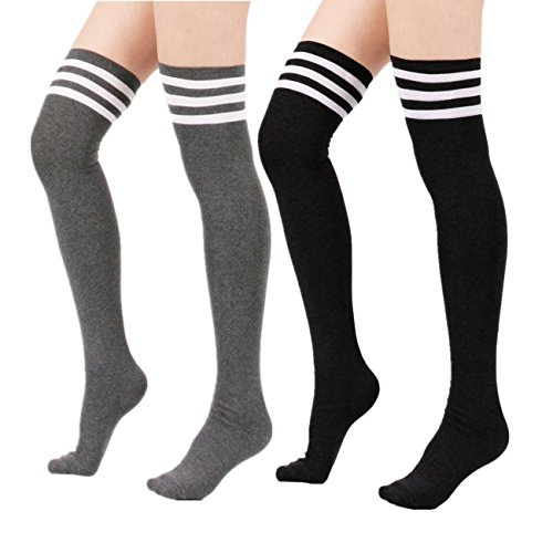 Azue Damen Mädchen Schüler Klassisch Über Knie-Lange Sportsocken Hold-up-Strümpfe Gestreift Kniestrümpfe Overknee Socken 2er Pack Schwarz Grau One Size (Blickdicht Strümpfe Streifen-schenkel-hohe)
