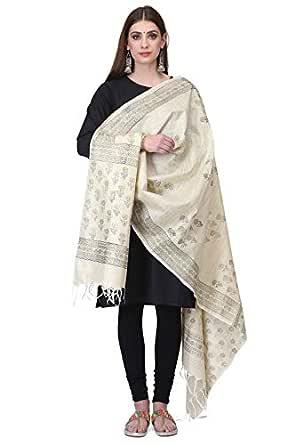 THE WEAVE TRAVELLER Women's Handloom Hand Block Printed Cotton Dupattas (TWT_KD_FLWR_1; Cream; Free Size)