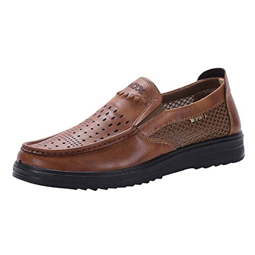 Scarpe da Barca Authentic Original Mesh Shoes Scarpe Larghe e comode da papà Business Casual Scarpe da Uomo (48 EU,Marrone)
